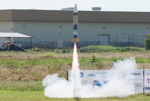 Rocket launches at the CanSat Competition Credit / Patrick Rouin, AAS