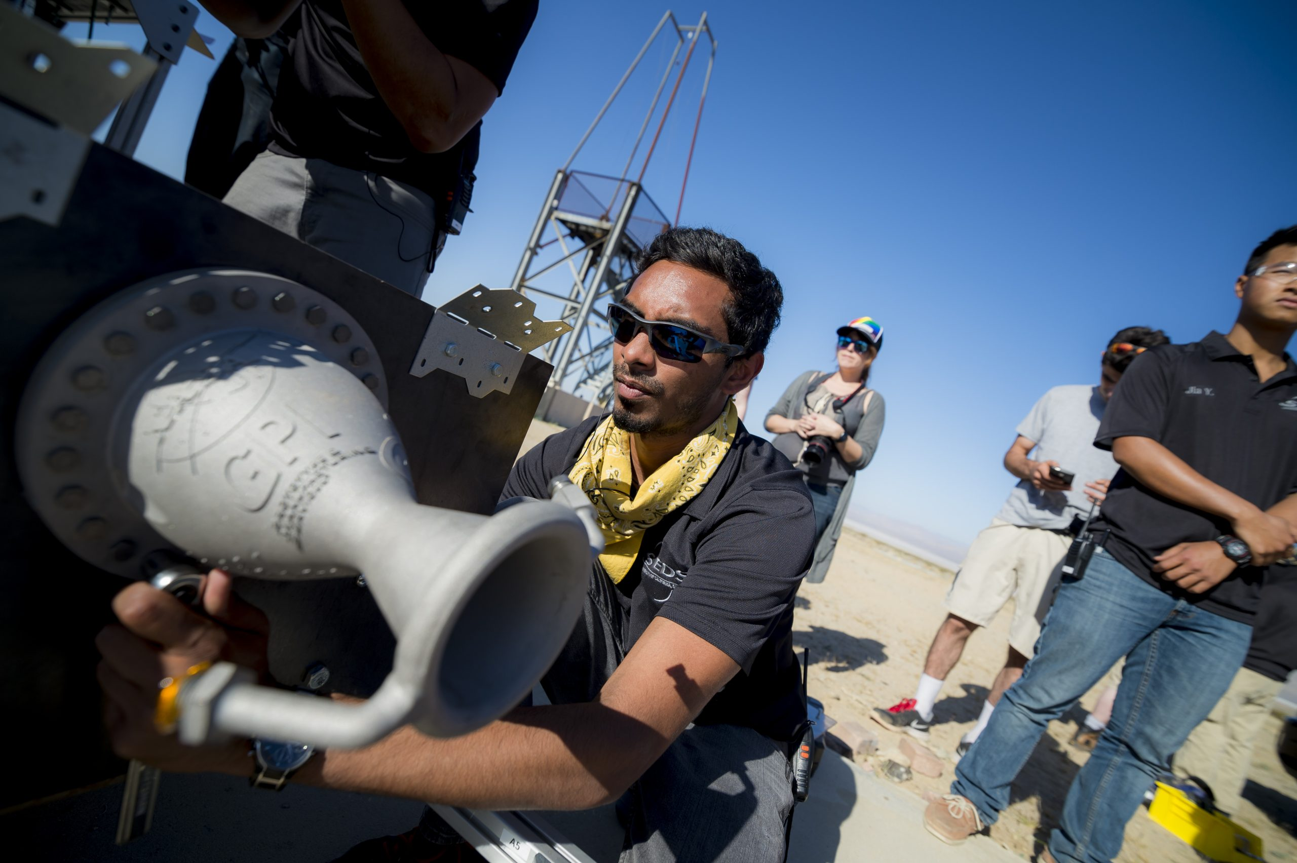 Atyam working on a Tri-D rocket engine created by Atyam and his partner Alex Finch at the University of California San Diego. CREDIT/ERIK JEPSEN
