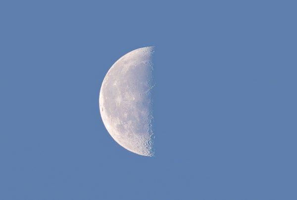 Half moon at sunrise on June 13, 2020. Photo Credit: Patrick Rouin