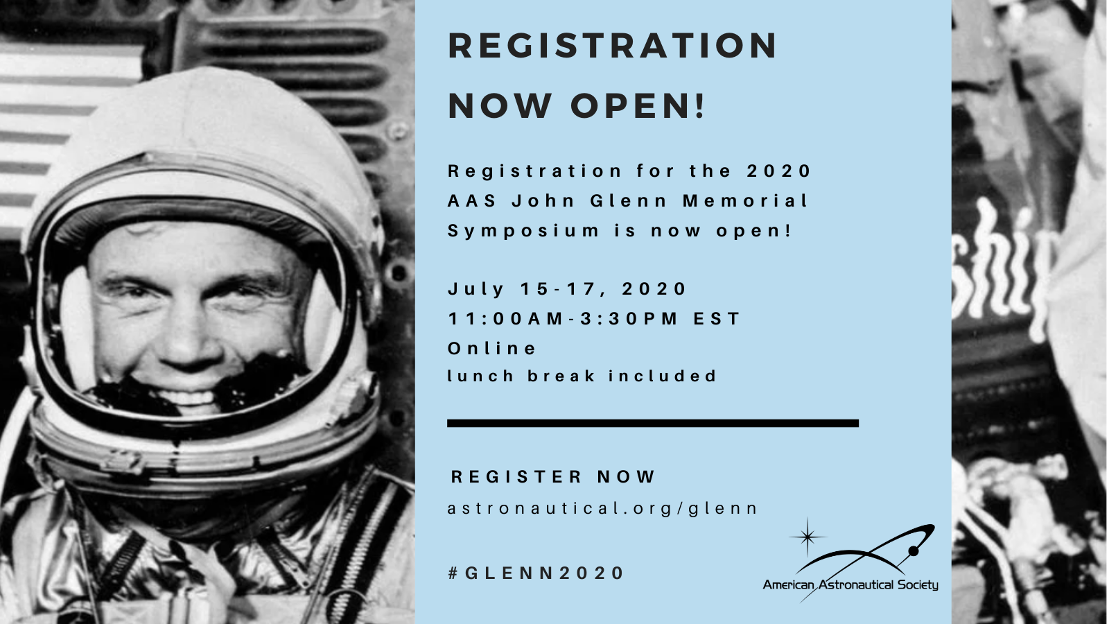 The 2020 AAS John Glenn Memorial Symposium – REGISTRATION NOW OPEN!